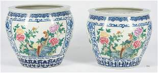 Pair of Blue and White Porcelain Fish Bowls