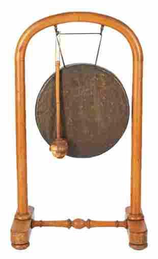 Bronze European & Asian Gong w/ Stand