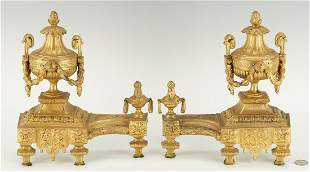 Pair French Gilt Bronze Chenets