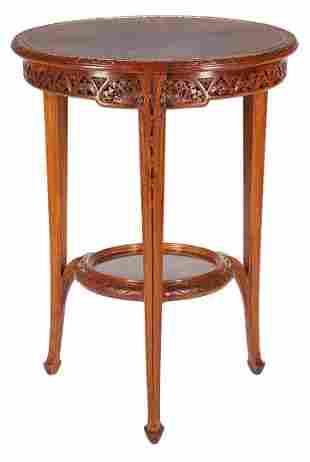 Majorelle Signed Art Nouveau Round Aubepine Table
