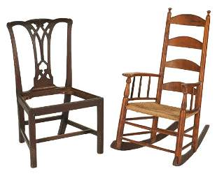 Chippendale Chair and Ladderback Rocker