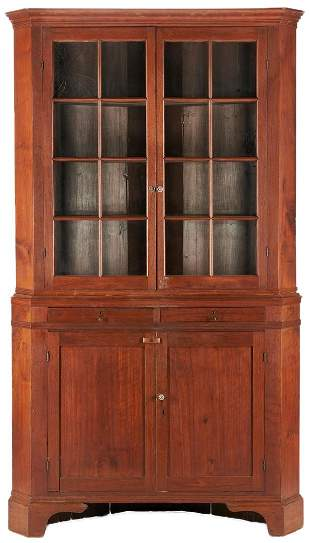 North Carolina 2-Piece Walnut Corner Cupboard
