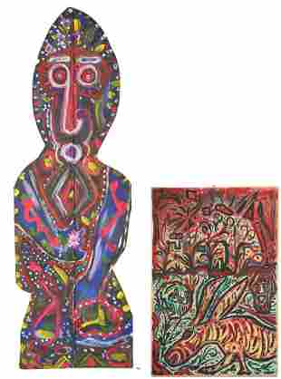 2 Jerry Coker Art Works, incl. Large Painted Figure