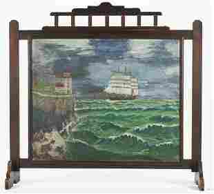 Folk Art Painted Fireplace Screen