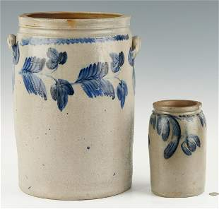 2 Cobalt decorated jars, 1 poss. Baltimore