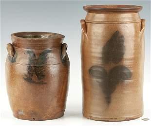 2 Cobalt Decorated Stoneware Jars, Poss. SW VA