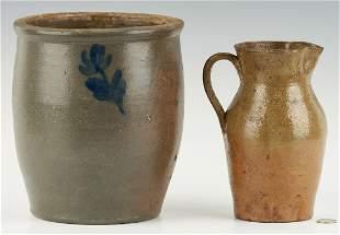 2 VA Stoneware Items, incl. Wash. Co. Cobalt Jar