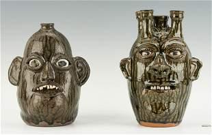 2 GA Stoneware Pottery Face Jugs, incl. C. & B.
