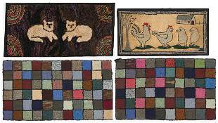 4 Hooked Rugs inc. Cats, Chickens