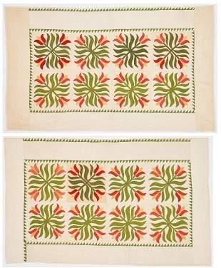 Pair of Tulip Quilts, Signed, attr. Pennsylvania