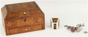 Straw Work Sewing Box, Tortoise Needlecase, Bird Clamp