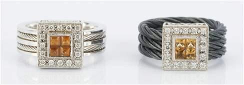2 Philippe Charriol 18K Citrine & Diamond Rings