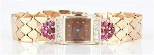 Ladies Tourneau 14K Gold, Ruby, and Diamond Watch