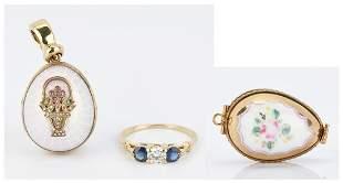 2 Ladies Egg Pendants and Diamond & Sapphire Ring, 3