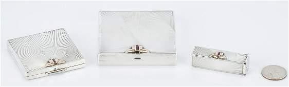 3 pc Art Deco Tiffany Silver, 14K, and Ruby purse set