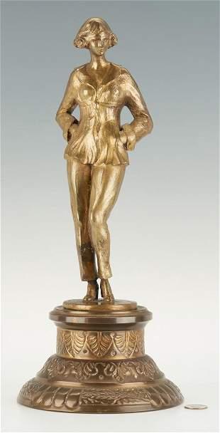 J. Malet Bronze Figure, Woman in Pants