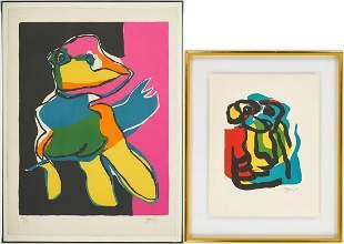 2 Karel Appel Abstract Color Lithograph, incl. T.V.