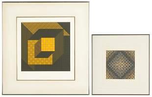 2 Victor Vasarely Op Art Serigraphs