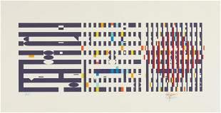 Yaacov Agam Kinetic Art Serigraph, Three Movement II