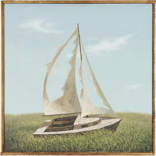 Evelyn Taylor O/C Painting, Boat with Tattered Sails
