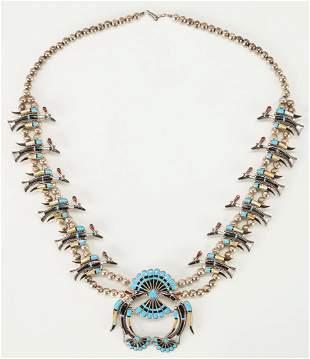 Zuni Squash Blossom Necklace, Bird Motif