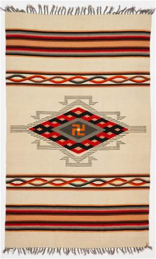 Early Mexican or Southwestern Blanket, Whirling Log