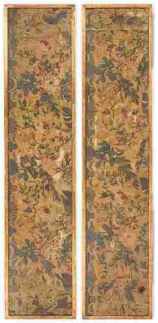 Pair Stumpwork Tapestry Drapery Panels