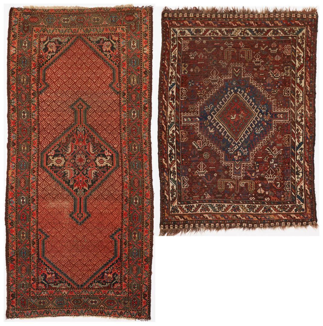 2 Persian Rugs, Shiraz and Hamadan Prayer
