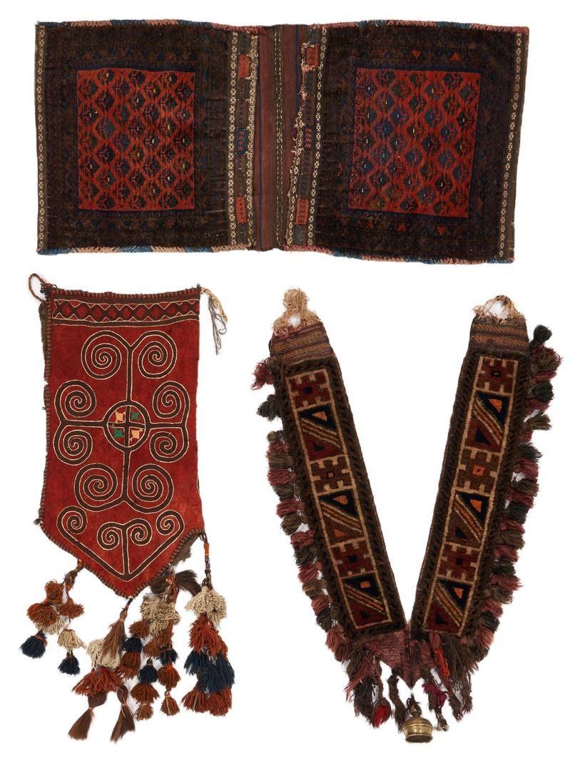 Saddle Bag, Turkmen Hanging, and Camel Collar, 3 pcs.