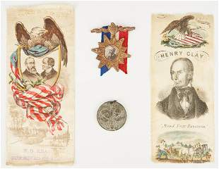 4 Political Items, incl. Henry Clay Ribbon, 1844