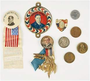 8 Political Items, incl. Lincoln 1860 Campaign Coins
