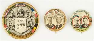 3 Political Buttons, incl. Wilson, Debs, Roosevelt