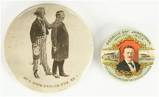 2 T. Roosevelt Buttons, incl. Georgia Day 1907