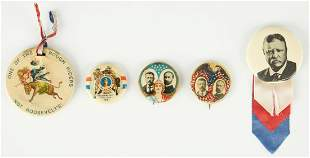 5 T. Roosevelt Badge & Buttons, incl. Rough Riders