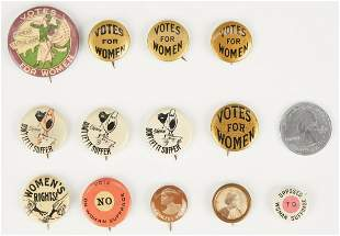 13 Women's Suffrage Buttons, incl. WSPU Trumpeter
