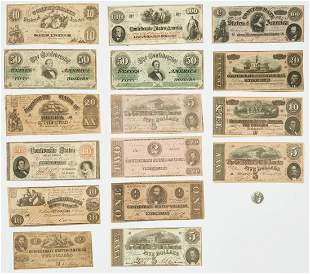 16 Pcs. CSA Currency, incl. 6 dated 1861