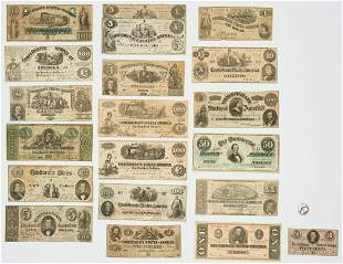 20 Pcs. CSA Currency, incl. 8 dated 1861