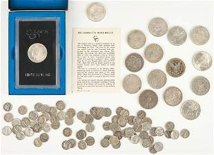 93 Silver Coins, incl. UNC Morgan CC, Peace, Mercury