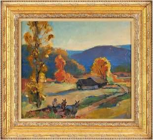 Norman Anderson O/C, Farmhouse in Autumn Landscape