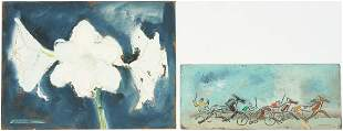 2 Sterling Strauser paintings, Racing Scene and