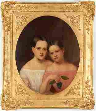 American School 19th C. Portrait of Two Girls