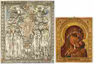 Russian Silver Relief Icon & Madonna w/ Child Icon