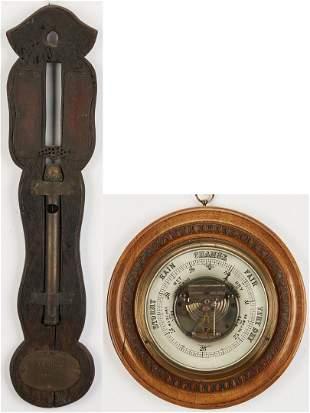 English Water Clock and Barometer, 2 items