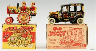2 Marx Old Jalopy Lithographed Toy Cars in Boxes