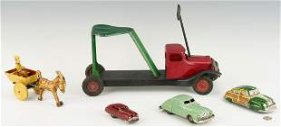 5 Tin & Metal Toy Cars incl. Marx, Schuco, Wyandotte