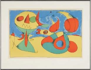 Joan Miro Lithograph, Zephir Vogel