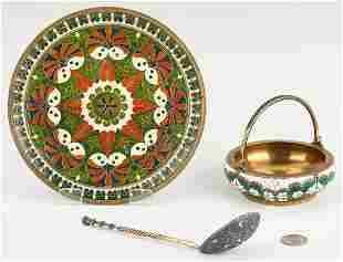 3 Continental Enameled Decorative Items