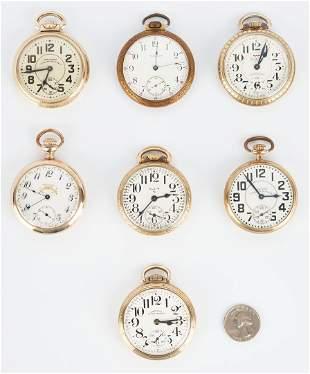 7 Pocket Watches incl. Waltham, Hamilton, Elgin