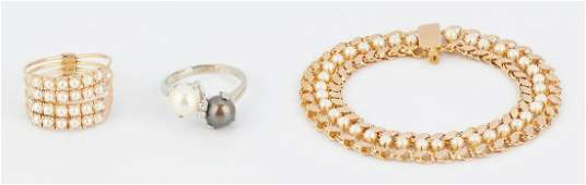3 Ladies Pearl  Gold Jewelry Items