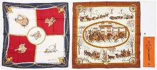 2 Designer Silk Scarves, Hermes & Gucci